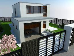 Wizualizacja ogrodu i tarasu przy nowoczesnym domu pasywnym