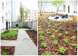 Projekt ogrodu, dziedziniec osiedlowy, Warszawa Mokotów