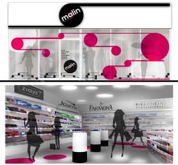 Projekt witryny sklepowej i kolorystyki dla drogerii malin