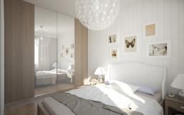 Jasna skandynawska sypialnia i łazienka