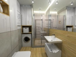 Biało-beżowa kawalerka łazienka