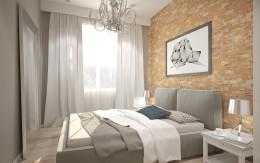 Sypialnia zdominowana cegłą