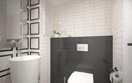 Łazienka - czarno-biała i geometryczna