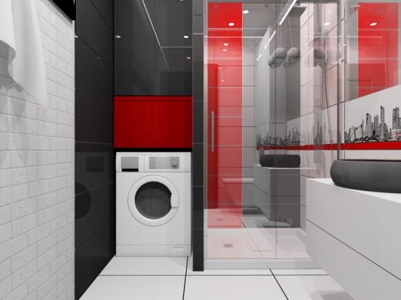 Biało Czarno Czerwona łazienka Pracownia Aranżacji Wnętrz