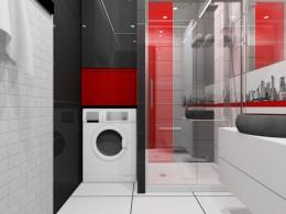 Biało-czarno-czerwona łazienka