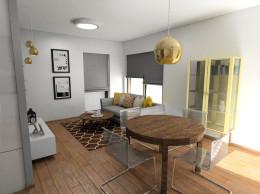 Salon z żółtymi akcentami