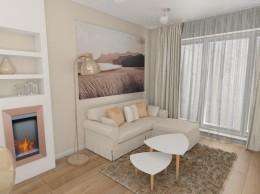 Przytulne mieszkanie z miedzią salon i przedpokój