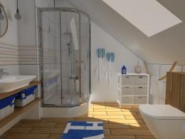Łazienka z morskimi dodatkami