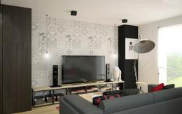 Designerskie mieszkanie z czerwienią - salon