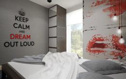 Designerskie mieszkanie z czerwienią - sypialnia