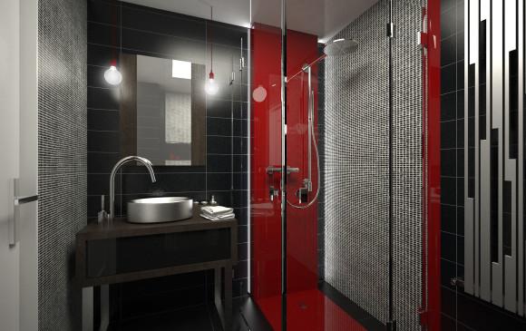 designerskie mieszkanie z czerwieni� �azienka