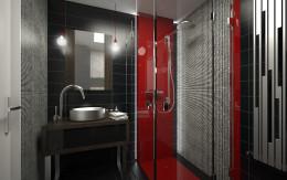 Designerskie mieszkanie z czerwienią - łazienka