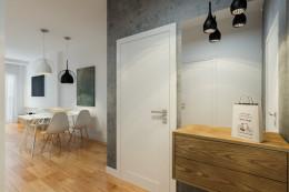 Szary apartament - przedpokój, sypialnia