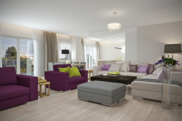 Jasny apartament z turkusem i fioletem
