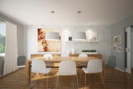 Salon i jadalnia w domu jednorodzinnym