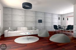 Metamorfoza salonu z jadalnią - wersja betonowa