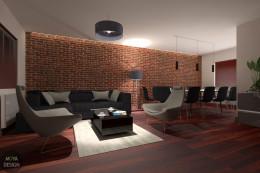 Metamorfoza salonu z jadalnią - wersja ceglana