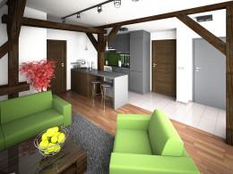 adaptacja poddasza na lokale mieszkaniowe, mieszkanie 47m2