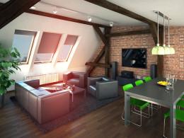 adaptacja poddasza na lokale mieszkaniowe, mieszkanie 80m2