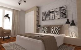 Sypialnia z białą cegłą w tle