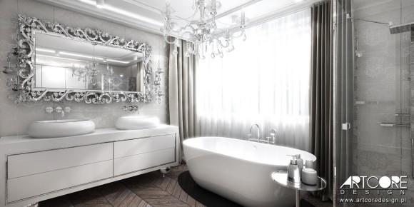 Projekt Wnętrza Rezydencji łazienka W Stylu Glamour Ewa