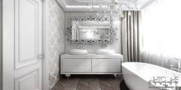 Projekt wnętrza rezydencji. Łazienka w stylu glamour.