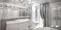 Łazienka w stylu glamour.