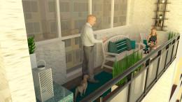 Turkusowo-biała aranżacja balkonu