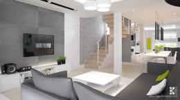 Dom w Ostrowie Wlkp -salon z kuchnia