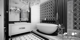 Czarno-biała łazienka - projekt wnętrza.
