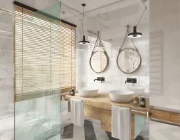 Projekt łazienki w domu szeregowym w Opole 2016.