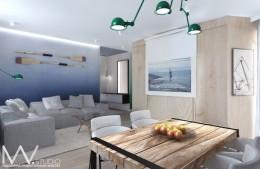 Salon z elementami inspirowanymi morzem