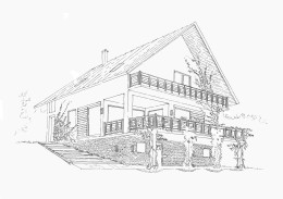 Projekt elewacji. Dom na skarpie Sandomierz