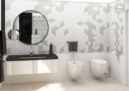 Geometryczna łazienka.