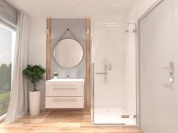Łazienka na poddaszu kamień, drewno biel