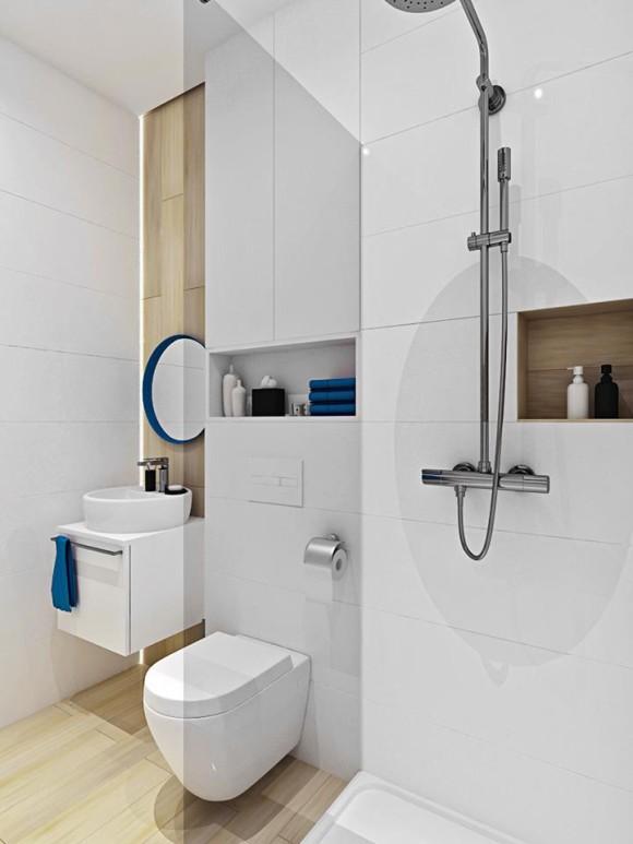 Biała łazienka Z Drewnianymi Akcentami Wooow Projekt E