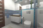 Łazienka w bieli i błękicie