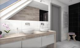 Łazienka z płytkami drewnopodobnymi