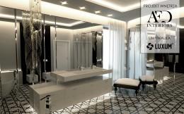 Łazienka w stylu glamour z umywalką na wymiar.