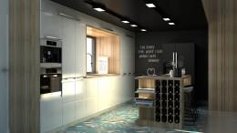 Ciemna kuchnia pod antresolą